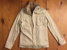 LaRok Khaki Classic Parka Safari Jacket Removable Rabbit Fur Vest Size XS
