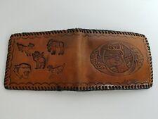 Vintage Hand Made Leather Bi-fold Wallet Cloth Stitching Animals Deer Moose Mens