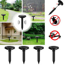 4 X Solar Power Ultrasonic Mole Gopher Pest Rodent Snake Repeller Repellent New