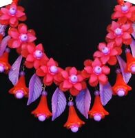 Vtg Style FLORAL BIB COLLAR STATEMENT NECKLACE OOAK HANDMADE USA RED and PURPLE
