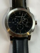Mens Burberry Chronograph Watch Stainless Steel Leather Black Dial Quartz BU9356