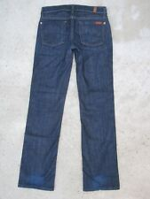 7 For All Mankind Womens Jeans Slim Straight Leg Ankle Dark Distressed Sz 24
