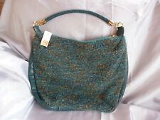 East teal wool blend boucle Pu leather large shoulder bag - New with Tags