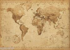 GIGANTE Mappa del Mondo Poster Muro NUOVISSIMO Stile Antico Grande Regalo