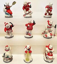 Coca Cola Polar Bears Wintertime Wonder Figurines COA Lot of 9