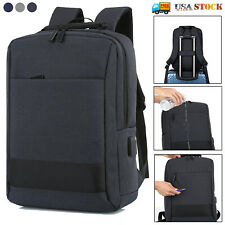 "15.6"" Laptop Backpack Waterproof USB Mens Business Travel School Shoulder Bag"