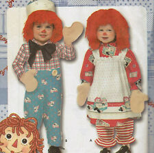 Simplicity 9375 Raggedy Ann And Andy Costume Pattern FF Toddler Child AA 1/2,1,2