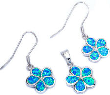 Blue Fire Opal Plumeria .925 Sterling Silver Pendant & Earrings Set
