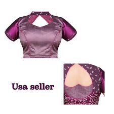 Readymade Dupion Silk and Chiffon bandhej saree Blouse in Dusty Purple ,size 40