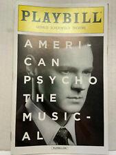 AMERICAN PSYCHO PLAYBILL BOOK BROADWAY NEW YORK APRIL 2016 BENJAMIN WALKER OBC