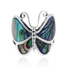Big Green Abalone Butterfly .925 Silver Ring-10