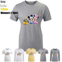 Disney Mickey Minnie Pluto Pattern Print T-Shirt Womens Girls Graphic Tee Shirts