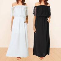 Women Short Sleeve Lace Off Shoulder Shirt Dress Long Maxi Dress Sundress Plus