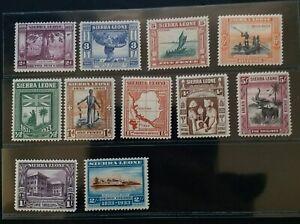 SIERRA LEONE 1933 KG V 1/2d to 5s SG 168 - 178 Sc 153 - 163 centenary MLH