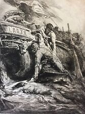 François Chifflart L' Art estampe en pointe sèche 1877 Naufrage Shipwreck ARTE