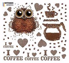 Aufkleber Sticker Wandtattoo Wandsticker Coffee Kaffee Cafe Eule Herz Deko Küche