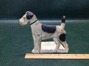 Antique SPENCER FOUNDRY Cast Iron Terrier Dog Bookend Doorstop