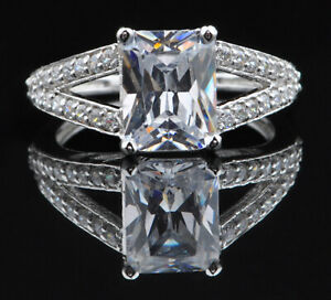 925 Sterling Silver & D-Color 2.75 Carat Fancy Shape Solitaire With Accents Ring