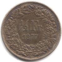 1877 B Switzerland 1/2 Franc | Pennies2Pounds