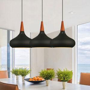 3X Black Pendant Lights Wood Ceiling Lamp Modern Light Home Chandelier Lighting