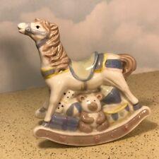PORCELAIN ROCKING HORSE FIGURINE STATUE SCULPTURE TOY ROCKS WHITE BLUE BEAR DOLL
