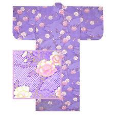 """Japanese Kimono Yukata Robe 58""""L Sakura W/ Shibori Pattern Purple/ Made in Japan"""
