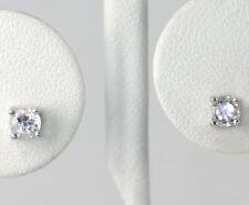 Sterling Silver Round Cut White Topaz Stud Earrings