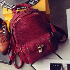 women leather backpack crocodile pattern bag vintage rucksack shouder school bag