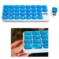 One Month Pill Organiser 31 Day Box Lid Medicine Tablet Storage Dispenser Travel