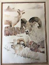 """Bette Poliquin Original Watercolor Sheep, Framed, Signed, Framed, 29"""" x 41"""""""