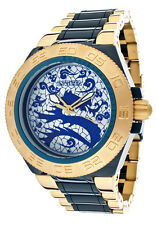 New Mens Invicta 11549 Subaqua Sport Blue Dragon Dial Gold and Blue SS Watch