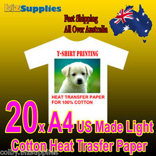 20x US Made A4 Light Cotton T-Shirt Heat Transfer Paper For Iron On / Heat Press