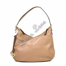 MICHAEL KORS Lea Beige Shoulder PURSE Leather Handbag Dark Khaki Gold NWT $348