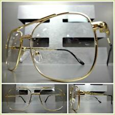 New Men's CLASSIC VINTAGE RETRO Style Clear Lens EYE GLASSES Gold Fashion Frame
