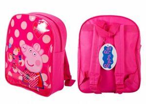 Girls Peppa Pig Backpack Pink Rocks With guitar Cream Polkadots School Kids Bag