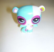 Littlest Pet Shop Panda Bear Blue and White with Raspberry Rim Black Eyes