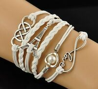 Hot Sale! Infinity Love Heart Tower Friendship Silver Leather Charm Bracelet