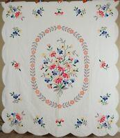 MAGNIFICENT Vintage 30's Floral Bouquet Applique Antique Quilt ~COLORFUL!