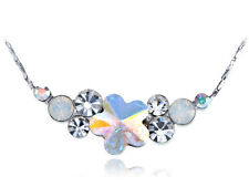 Silver Tone AB Perfect Circle Quaint Daisy New Crystal Element Necklace