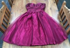 RUBY PROM Bridesmaid Wedding Dress Red 50s Short Lace Back Boned Vintage Retro 8