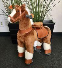 "SMALL Giddy Up Rides Horse/Pony Ride On ''CHOCO/WHITE"" 2-5 Boys & Girls (01E)"