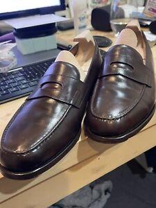 John Lobb Lopez 4395 Brown Leather Penny Loafer 8 US/ 7UK