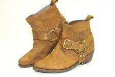 Jeffery Campbell Frontier Womens 8 Brown Leather Harness Western Cowboy Boots