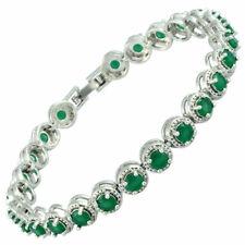 Lady Gift White Gold Plated CZ Zirconia Green Emerald Tennis Statement Bracelet