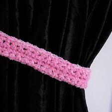 Curtain Tiebacks Tie Backs Light Baby Pink Boucle' Handmade Crochet Pair of Ties