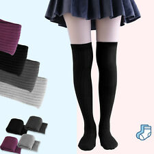 Cable Knit Socks Leg Warmer Over Knee Thigh High Long Stocking Women School Girl