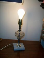 Marble Base glass lamp glass bubble silver mid century small