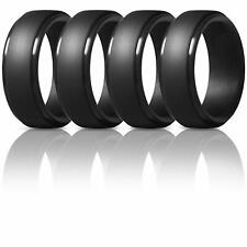 New&authentic 4pcs 8mm Silicone Rings for Mens Step Edge Rubber Wedding Bands
