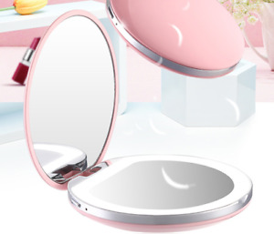 LED Mirror Pocket Makeup Mirror Compact Double Mirror with LED Ring Rechargeable