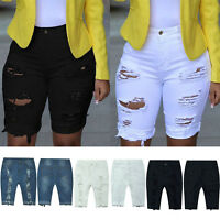 Women Shorts Denim Summer Skinny Ripped Hot Pant Holiday Trouser Destroyed Jeans